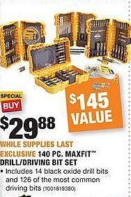 Home Depot Black Friday: DeWalt 140-pc Maxfit Drill/Driving Bit Set for $29.88