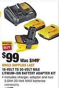 Home Depot Black Friday: DeWalt 18-Volt to 20-Volt Max Lithium-Ion Battery Adapter Kit for $99.00