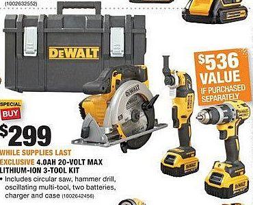 Home Depot Black Friday: DeWalt 4.0Ah 20-Volt Max Lithium-Ion 3-Tool Kit for $299.00