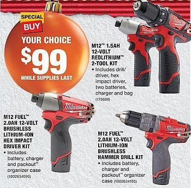 Home Depot Black Friday: Milwaukee M12 Fuel 2.0AH 12-Volt Lithium-Ion Brushless Hammer Drill Kit for $99.00