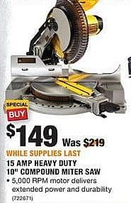 "Home Depot Black Friday: 15 AMP Heavy Duty 10"" Compound Miter Saw for $149.00"
