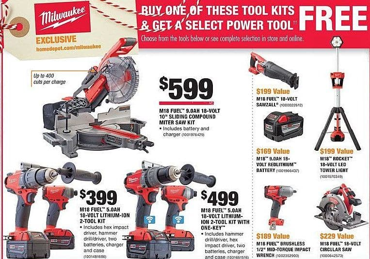 "Home Depot Black Friday: Milwaukee M18 Fuel 9.0AH 18-Volt 10"" Sliding Compound Miter Saw Kit + Select Power Tool for $599.00"
