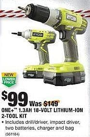 Home Depot Black Friday: Ryobi One+ 1.3Ah 18-Volt Lithium-Ion 2-Tool Kit for $99.00