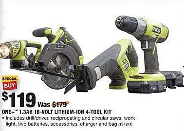 Home Depot Black Friday: Ryobi One+ 1.3Ah 18-Volt Lithium-Ion 4-Tool Kit for $119.00