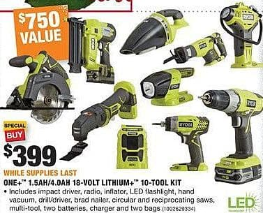 Home Depot Black Friday: Ryobi One+ 1.5Ah/4.0Ah 18-Volt Lithium+ 10-Tool Kit for $399.00