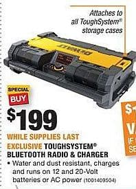 Home Depot Black Friday: DeWalt Toughsystem Bluetooth Radio & Charger for $199.00