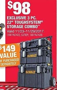 "Home Depot Black Friday: DeWalt 3pc. 22"" Toughsystem Storage Combo for $98.00"