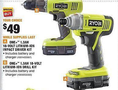 Home Depot Black Friday: Ryobi One+ 1.3Ah 18-Volt Lithium-Ion Impact Driver Kit for $49.00
