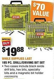 Home Depot Black Friday: Ryobi 195-pc Drill/Driving Bit Set for $19.88