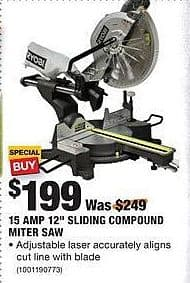 "Home Depot Black Friday: Ryobi 15 Amp 12"" Sliding Compound Miter Saw for $199.00"