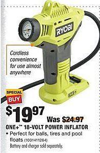 Home Depot Black Friday: Ryobi One+ 18-Volt Power Inflator for $19.97