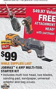 Home Depot Black Friday: Ridgid Jobmax 4 AMP Multi-Tool Starter Kit + Attachment Head for $99.00