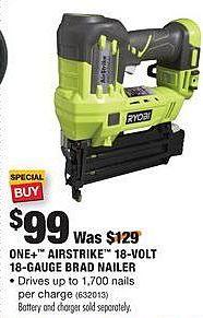 Home Depot Black Friday: Ryobi One+ Airstrike 18-volt 18-Gauge Brad Nailer for $99.00