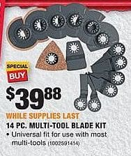 Home Depot Black Friday: Ridgid 14pc. Multi-Tool Blade Kit for $39.88