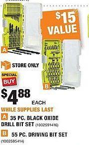 Home Depot Black Friday: Ryobi 35-pc Black Oxide Drill Bit Set or 55-pc Driving Bit Set for $4.88