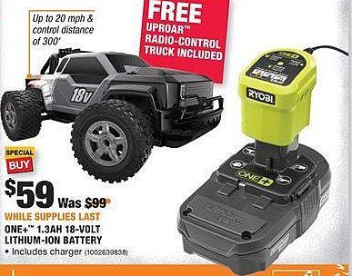 Home Depot Black Friday: Ryobi One+ 1.3Ah 18-Volt Lithium-Ion Battery + Uproar Radio-Control Truck for $59.00