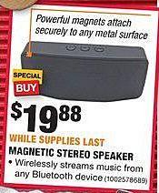 Home Depot Black Friday: Magnetic Stereo Speaker for $19.88