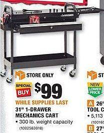 "Home Depot Black Friday: Husky 31"" 1-Drawer Mechanics Cart for $99.00"