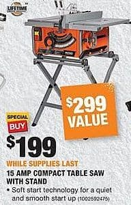 Home Depot Black Friday: Ridgid 15 Amp Compact Table Saw w/Stand for $199.00