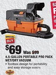 Home Depot Black Friday: Ridgid 4.5-Gallon Portable Pro Pack Wet/Dry Vacuum for $69.00