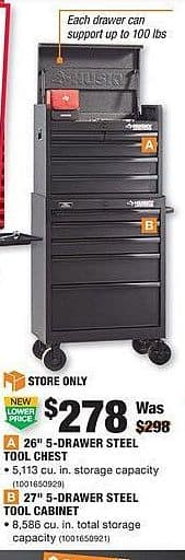 """Home Depot Black Friday: Husky 26"""" 5-Drawer Steel Tool Chest + 27"""" 5-Drawer Steel Tool Cabinet for $278.00"""