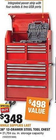 "Home Depot Black Friday: Husky 36"" 12-Drawer Steel Tool Chest for $348.00"