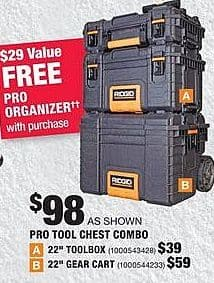 Home Depot Black Friday: Ridgid  Pro Tool Chest Combo + Pro Organizer for $98.00