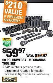 Home Depot Black Friday: Husky 60-pc Universal Mechanics Tool Set for $59.97