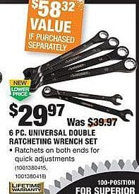 Home Depot Black Friday: Husky 6-pc Universal Double Ratcheting Wrench Set for $29.97