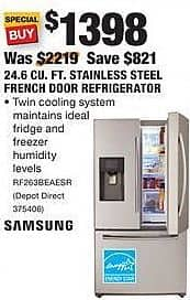 Home Depot Black Friday: Samsung 24.6 Cu. Ft. Stainless Steel French Door Refrigerator (RF263BEAESR) for $1,398.00