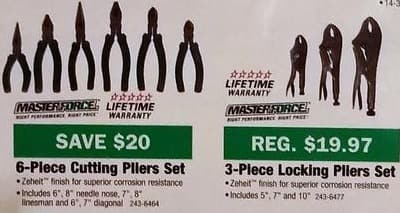 Menards Black Friday: Masterforce 6-pc Cutting Pliers Set for $9.97