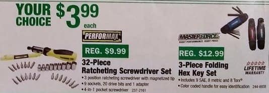 Menards Black Friday: Performax 32-pc Ratcheting Screwdriver Set for $3.99