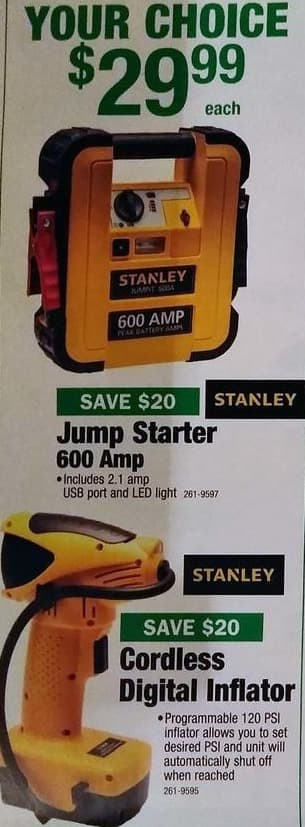 Menards Black Friday: Stanley 600 Amp Jump Starter for $29.99