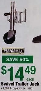Menards Black Friday: Performax Swivel Trailer Jack for $14.49