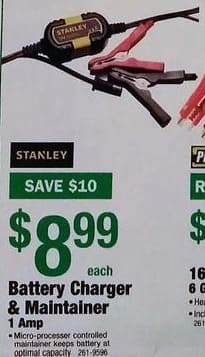 Menards Black Friday: Stanley Battery Charger and Maintainer, 1 Amp for $8.99