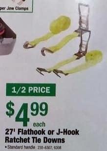 Menards Black Friday: 27' Flathook or J-Hook Ratchet Tie downs for $4.99