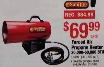 Menards Black Friday: SunRite Force Air Propane Heater, 30,000-60,000 BTU for $69.99