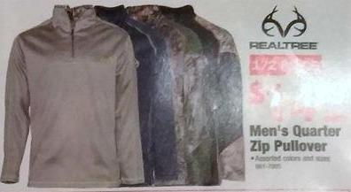 Menards Black Friday: Realtree Men's 1/4 Zip Pullover for $14.99