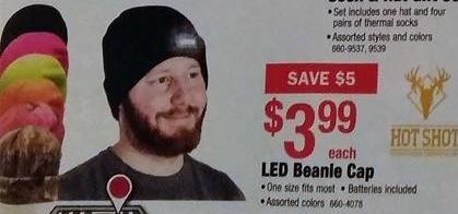 Menards Black Friday: Hot Shot LED Beanie Cap for $3.99