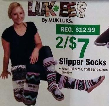 Menards Black Friday: (2) Muk Luks Luk Ees Slipper Socks for $7.00
