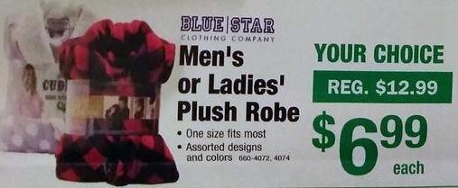 Menards Black Friday: Blue Star Men's or Ladies Plush Robe for $6.99