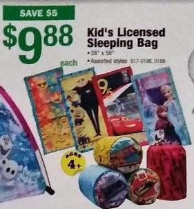 Menards Black Friday: Kids Licensed Sleeping Bag for $9.88