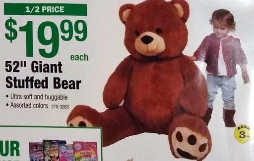 """Menards Black Friday: 52"""" Giant Stuffed Bear for $19.99"""