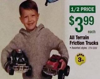 Menards Black Friday: All Terrain Friction Trucks Toys for $3.99