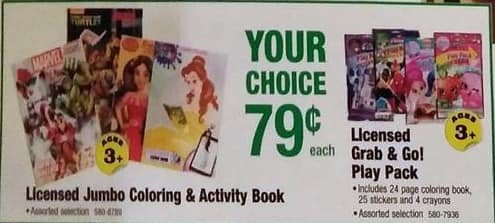 Menards Black Friday: Licensed Jumo Coloring & Activity Book or Grab & Go Play Pack for $0.79