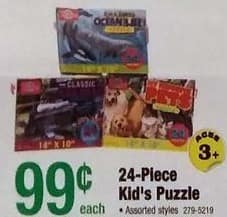 Menards Black Friday: 24-pc Kids Puzzles for $0.99