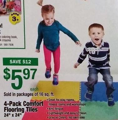 """Menards Black Friday: 4-Pack Comfort Flooring Tiles 24"""" x 24"""" for $5.97"""