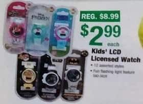 Menards Black Friday: Kids LCD Licensed Watch for $2.99