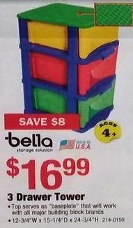 Menards Black Friday: Bella 3 Drawer Kids Storage Tower for $16.99