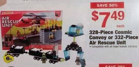 Menards Black Friday: 328-Piece Cosmic Convoy or 332-Piece Air Rescue Unit for $7.49